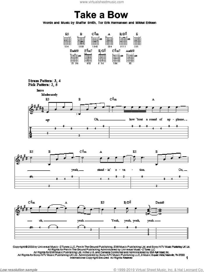 Take A Bow sheet music for guitar solo (easy tablature) by Rihanna, Miscellaneous, Mikkel Eriksen, Shaffer Smith and Tor Erik Hermansen, easy guitar (easy tablature)