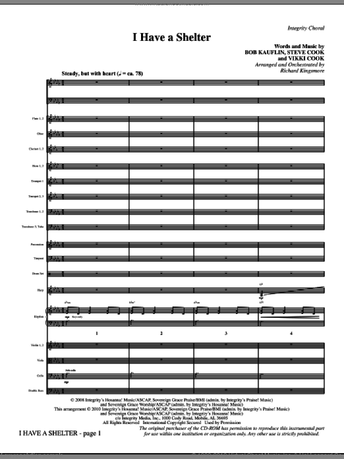 I Have A Shelter (complete set of parts) sheet music for orchestra/band (Orchestra) by Vikki Cook, Bob Kauflin, Steve Cook and Richard Kingsmore, intermediate skill level