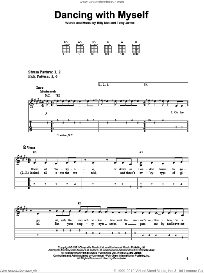 Dancing With Myself sheet music for guitar solo (easy tablature) by Billy Idol and Miscellaneous, easy guitar (easy tablature). Score Image Preview.