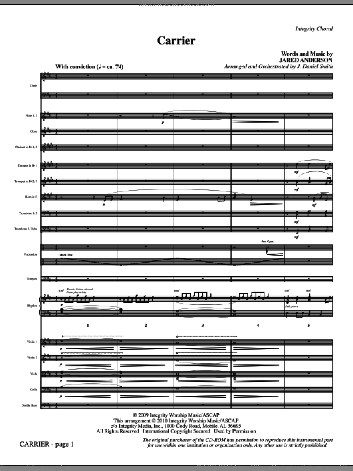 Carrier (complete set of parts) sheet music for orchestra/band (Orchestra) by Jared Anderson and J. Daniel Smith, intermediate. Score Image Preview.
