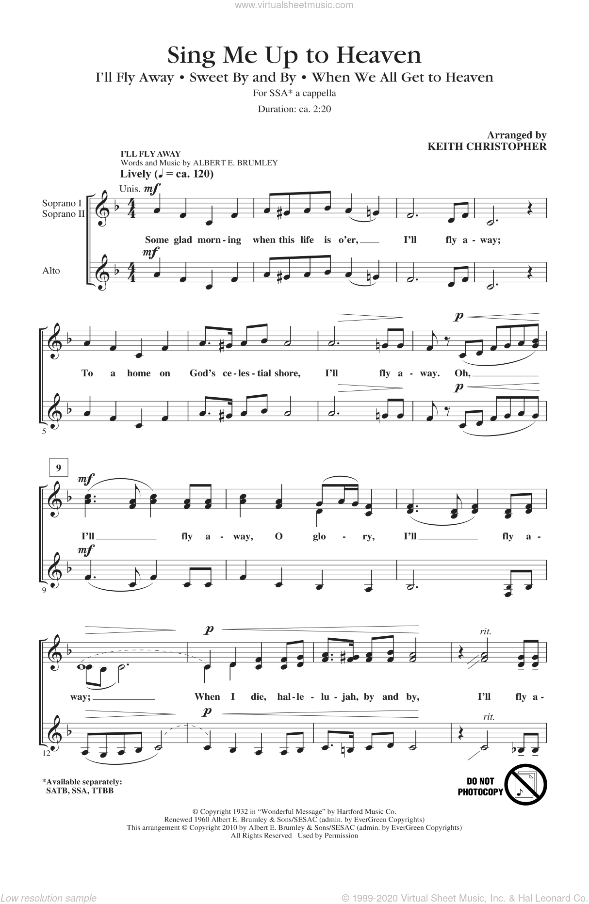 Sing Me Up To Heaven (Medley) sheet music for choir (soprano voice, alto voice, choir) by Keith Christopher, intermediate choir (soprano voice, alto voice, choir). Score Image Preview.