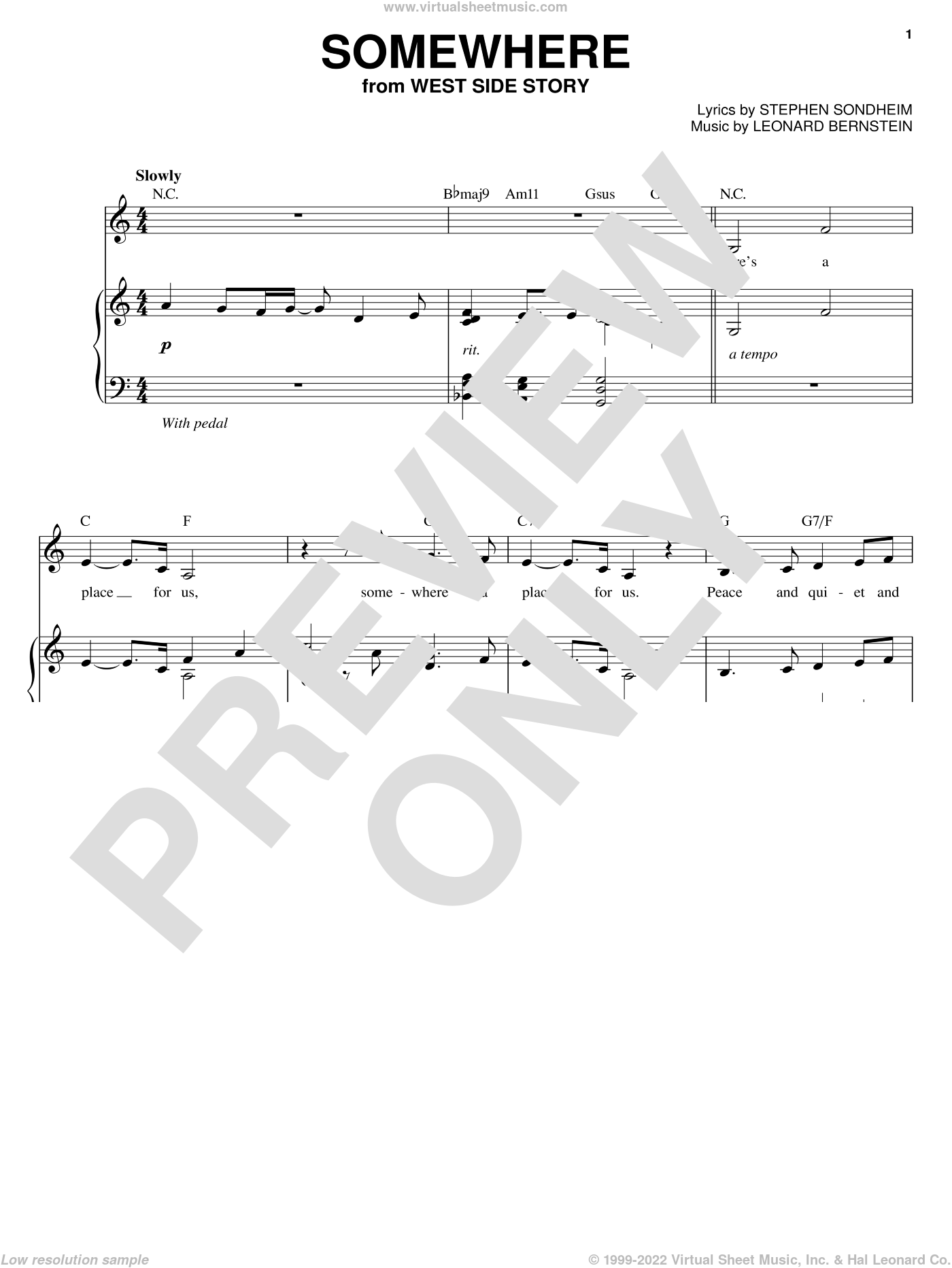 Somewhere sheet music for voice, piano or guitar by Leonard Bernstein, Audra McDonald, West Side Story (Musical) and Stephen Sondheim, intermediate skill level
