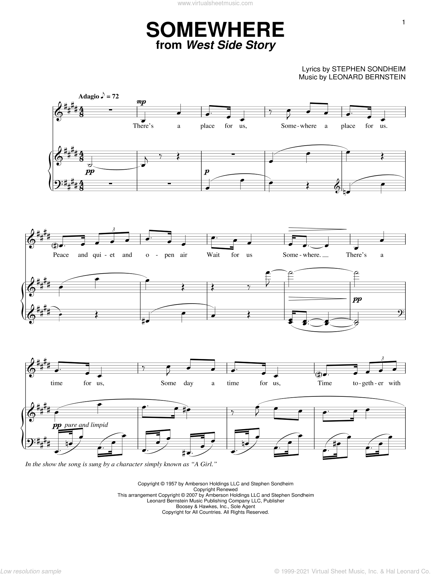 Somewhere sheet music for voice and piano by Leonard Bernstein, West Side Story (Musical), Richard Walters and Stephen Sondheim, intermediate skill level