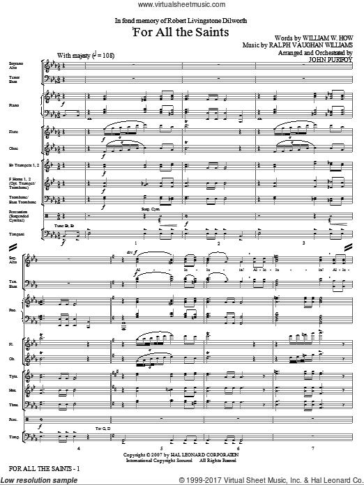 For All The Saints (COMPLETE) sheet music for orchestra by Ralph Vaughan Williams