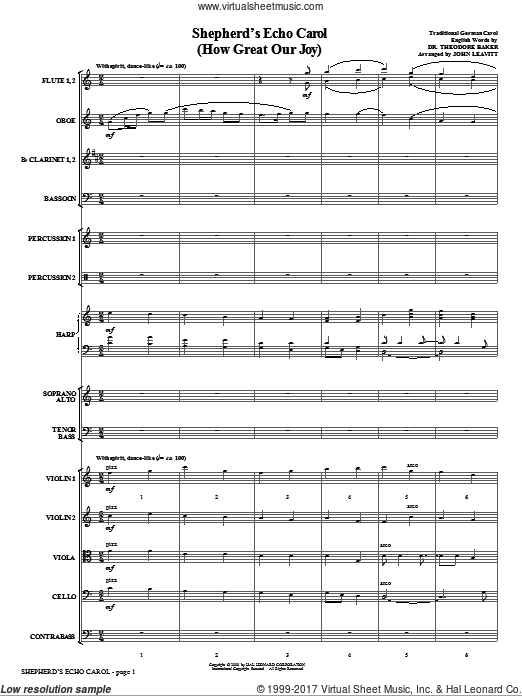 Shepherd's Echo Carol (How Great Our Joy) (COMPLETE) sheet music for orchestra by John Leavitt