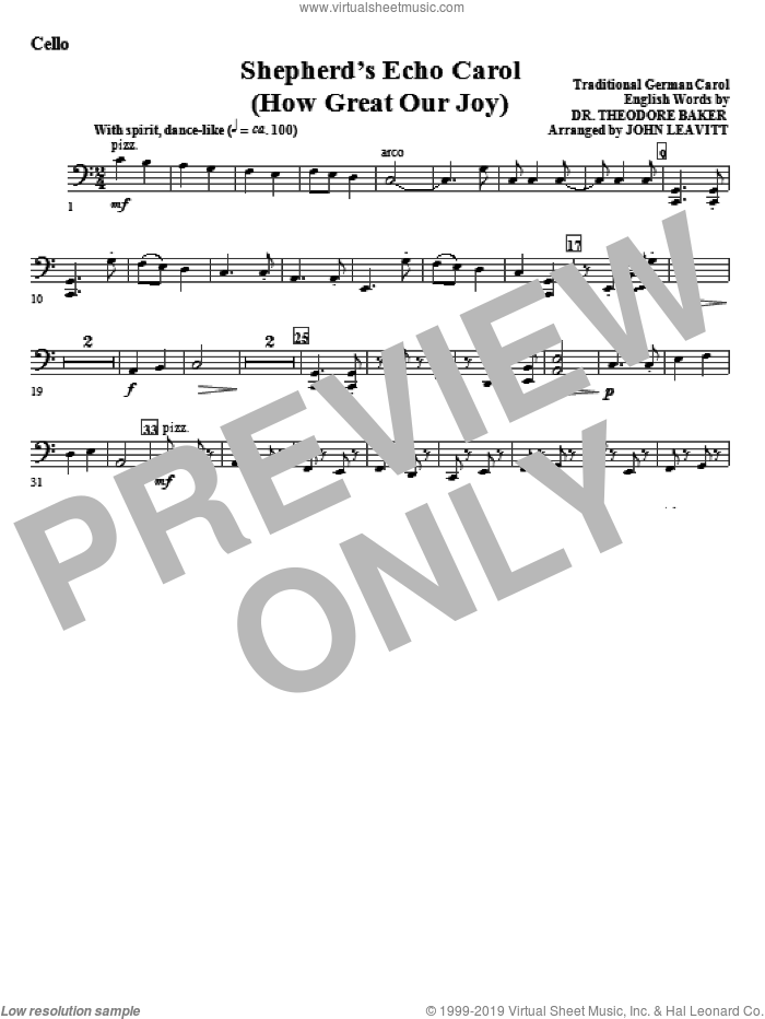 Shepherd's Echo Carol (How Great Our Joy) sheet music for orchestra/band (cello) by John Leavitt