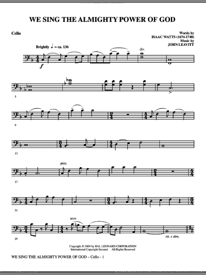 We Sing The Almighty Power Of God sheet music for orchestra/band (cello) by John Leavitt