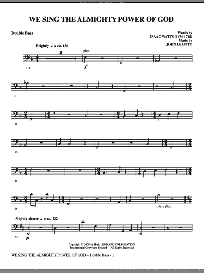 We Sing The Almighty Power Of God sheet music for orchestra/band (double bass) by John Leavitt
