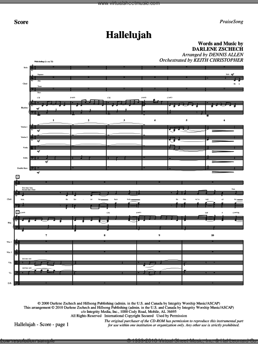 Hallelujah (COMPLETE) sheet music for orchestra by Darlene Zschech and Dennis Allen. Score Image Preview.
