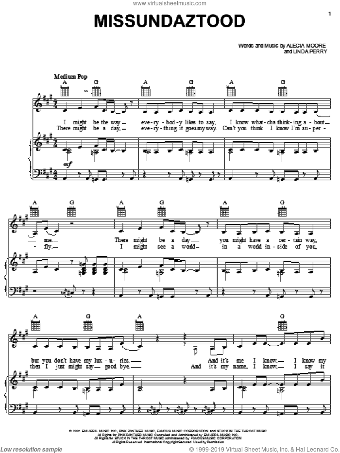 Missundaztood sheet music for voice, piano or guitar , Alecia Moore and Linda Perry, intermediate skill level
