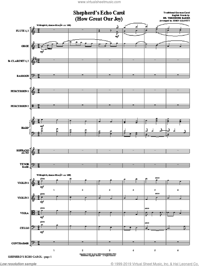 Shepherd's Echo Carol (How Great Our Joy) (complete set of parts) sheet music for orchestra/band (Orchestra) by John Leavitt, intermediate