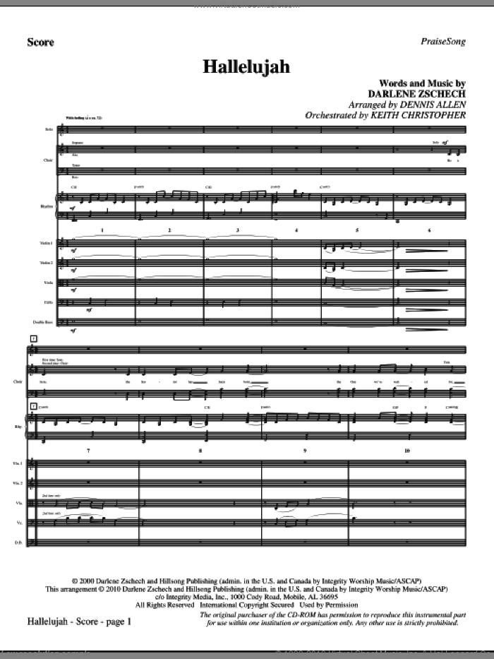 Hallelujah (complete set of parts) sheet music for orchestra/band (Strings) by Darlene Zschech and Dennis Allen, intermediate skill level