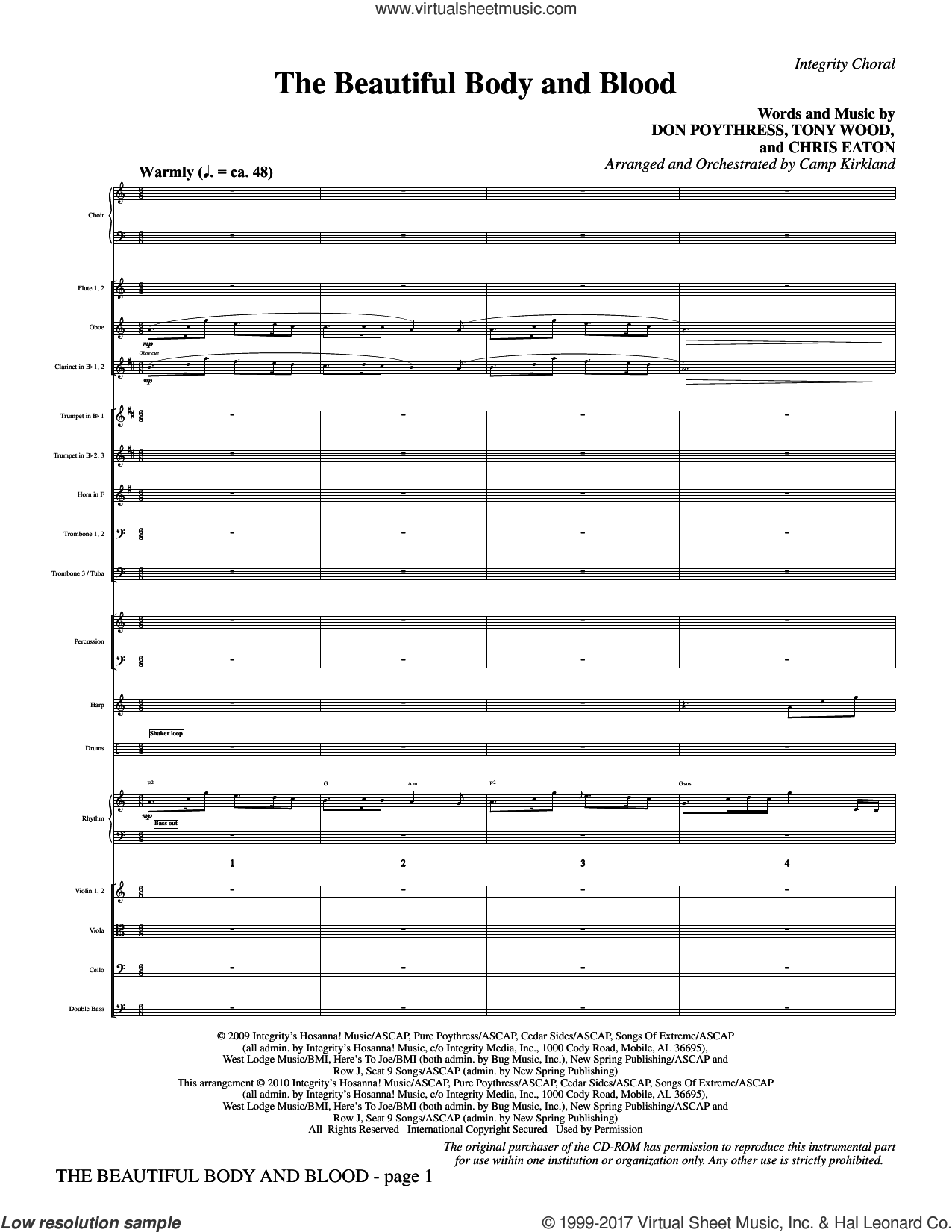 The Beautiful Body And Blood (complete set of parts) sheet music for orchestra/band (Orchestra) by Camp Kirkland, Chris Eaton, Don Poythress and Tony Wood, intermediate orchestra. Score Image Preview.