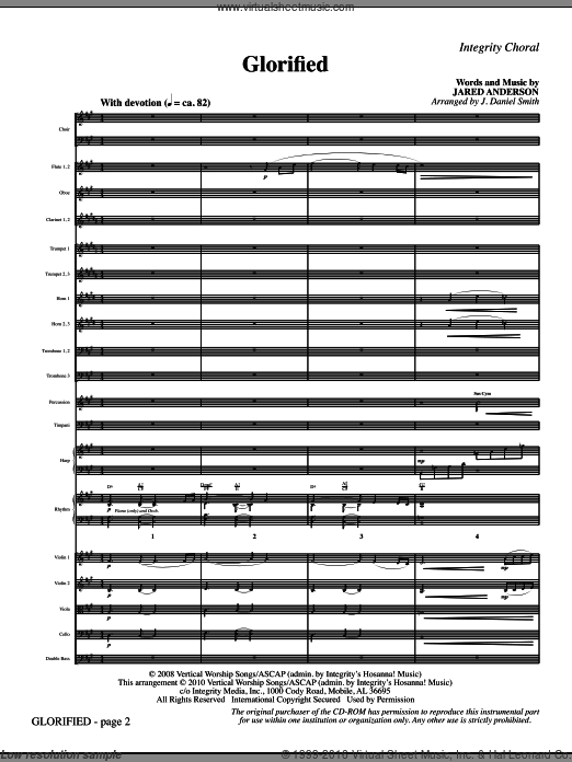 Glorified (COMPLETE) sheet music for orchestra by Jared Anderson and J. Daniel Smith. Score Image Preview.