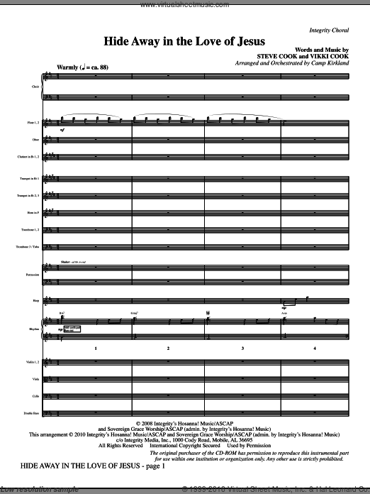 Hide Away In The Love Of Jesus (COMPLETE) sheet music for orchestra by Vikki Cook and Camp Kirkland. Score Image Preview.