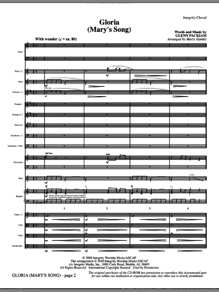 Gloria (Mary's Song) (complete set of parts) sheet music for orchestra/band (Orchestra) by Glenn Packiam and Marty Hamby, intermediate skill level