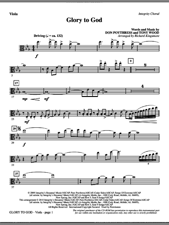 Glory To God (complete set of parts) sheet music for orchestra/band (Orchestra) by Tony Wood, Don Poythress and Richard Kingsmore, intermediate. Score Image Preview.