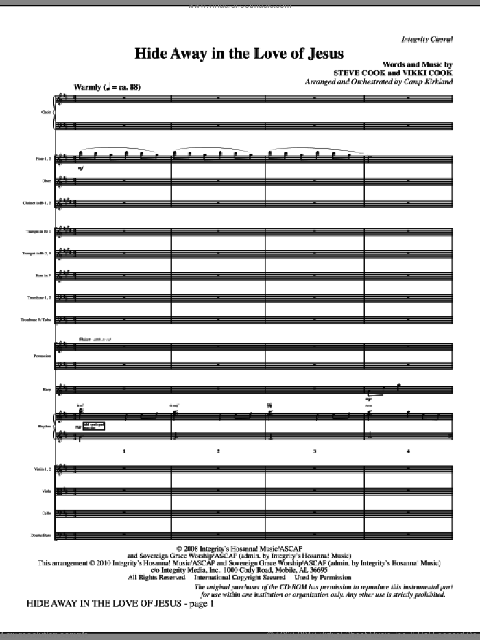 Hide Away In The Love Of Jesus (complete set of parts) sheet music for orchestra/band (Orchestra) by Vikki Cook, Steve Cook and Camp Kirkland, intermediate skill level