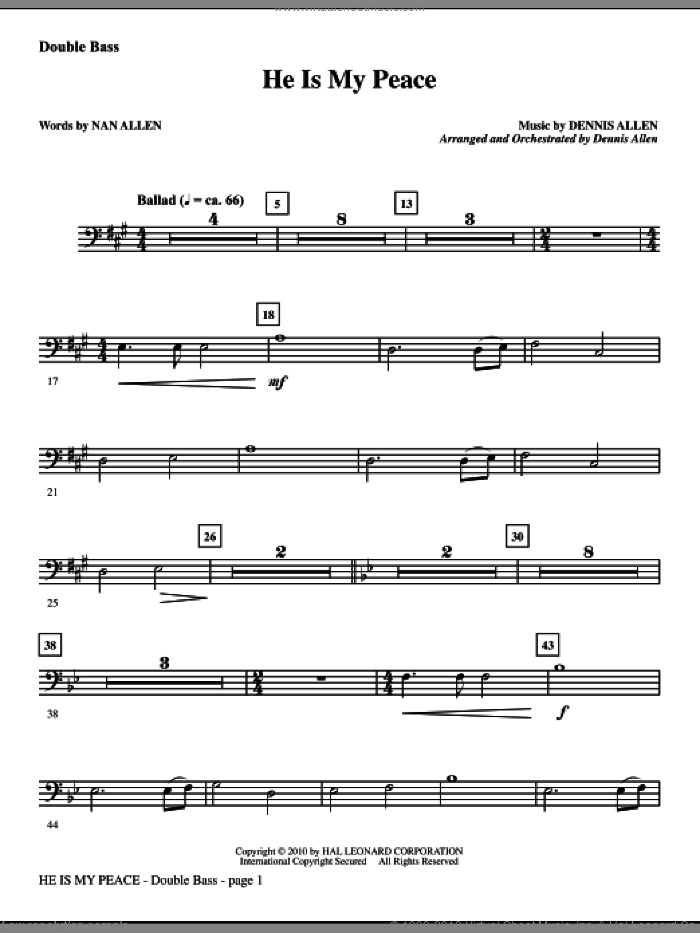 He Is My Peace sheet music for orchestra/band (double bass) by Nan Allen