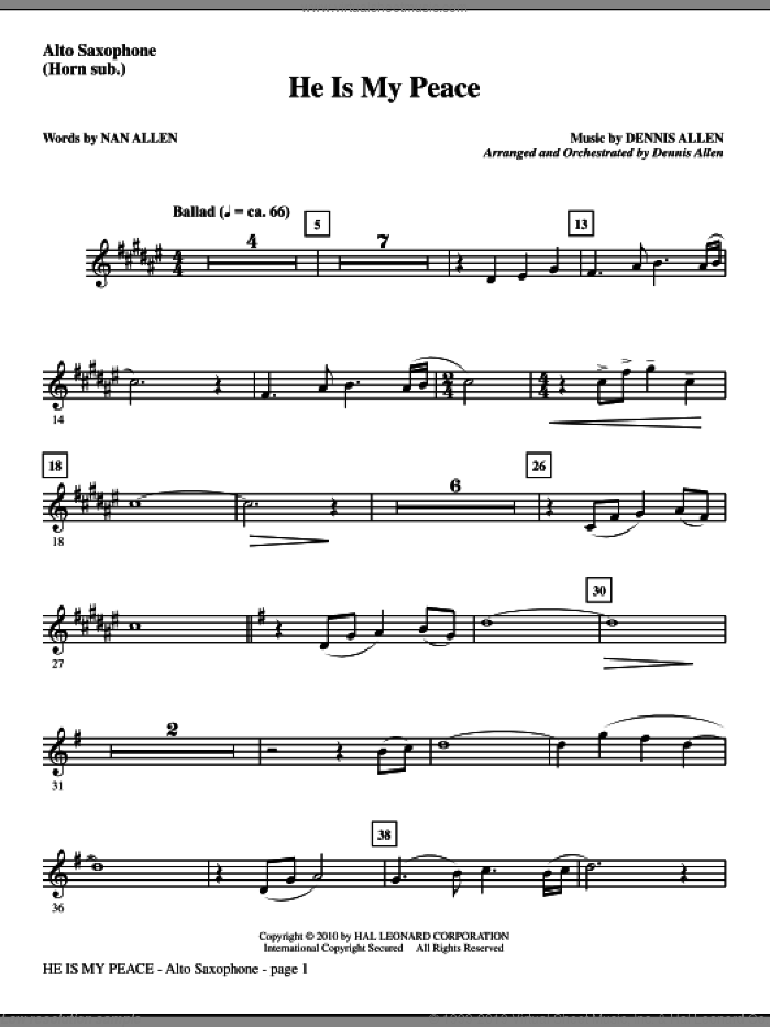 He Is My Peace sheet music for orchestra/band (alto sax, sub. horn) by Nan Allen