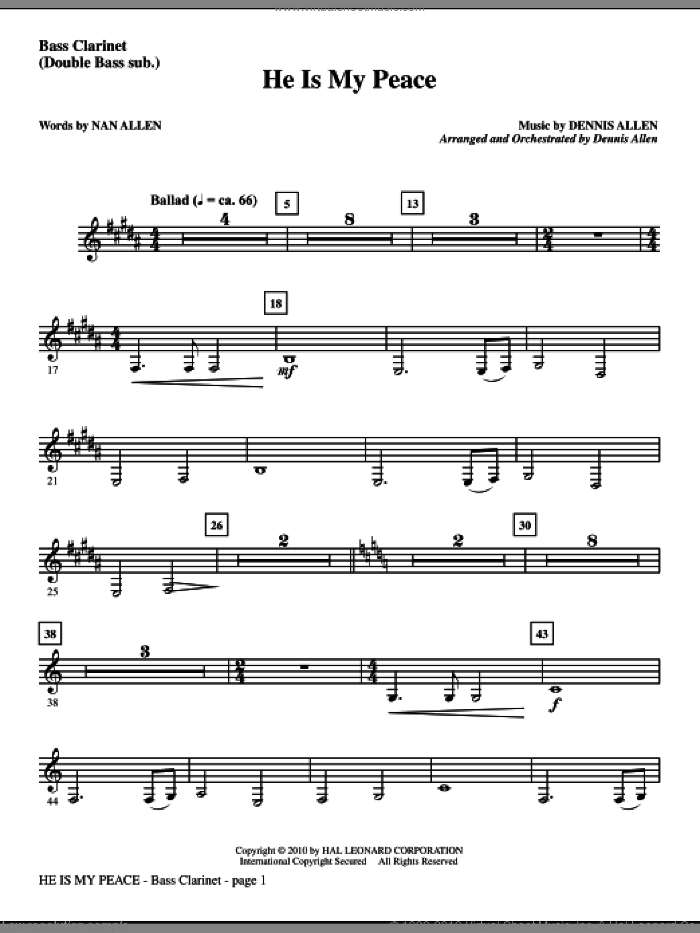 He Is My Peace sheet music for orchestra/band (bass clarinet, sub. dbl bass) by Nan Allen