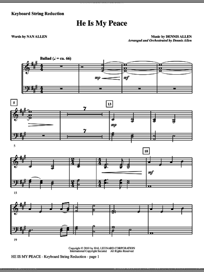 He Is My Peace sheet music for orchestra/band (keyboard string reduction) by Nan Allen