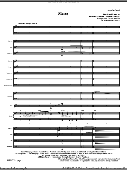 Mercy (COMPLETE) sheet music for orchestra by Omega Levine and Richard Kingsmore. Score Image Preview.