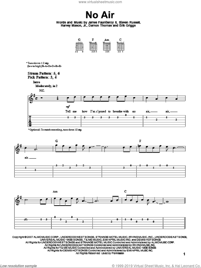 No Air sheet music for guitar solo (easy tablature) by Jordin Sparks with Chris Brown, Chris Brown, Jordin Sparks, Miscellaneous, Damon Thomas, Erik Griggs, Harvey Mason, Jr., James Fauntleroy and Steven Russell, easy guitar (easy tablature)