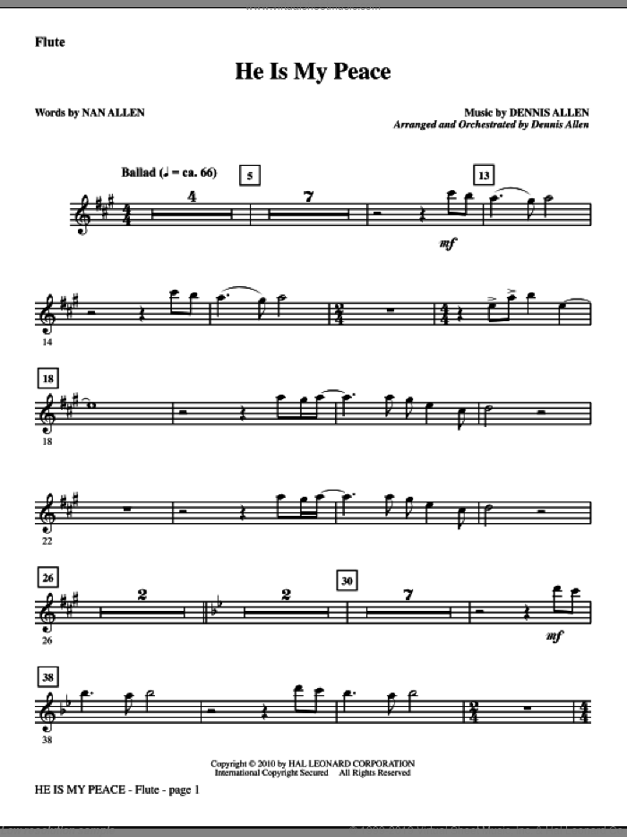 He Is My Peace sheet music for orchestra/band (flute) by Nan Allen