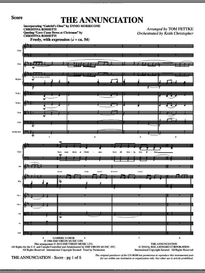 The Annunciation (incorporating Gabriel's Oboe) (complete set of parts) sheet music for orchestra/band (Strings) by Tom Fettke, Ennio Morricone and Christina Rossetti, intermediate. Score Image Preview.