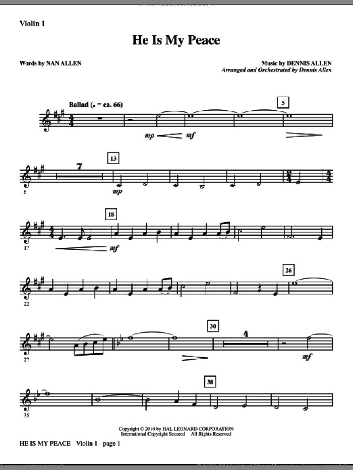 He Is My Peace (complete set of parts) sheet music for orchestra/band (Orchestra) by Dennis Allen and Nan Allen, intermediate. Score Image Preview.