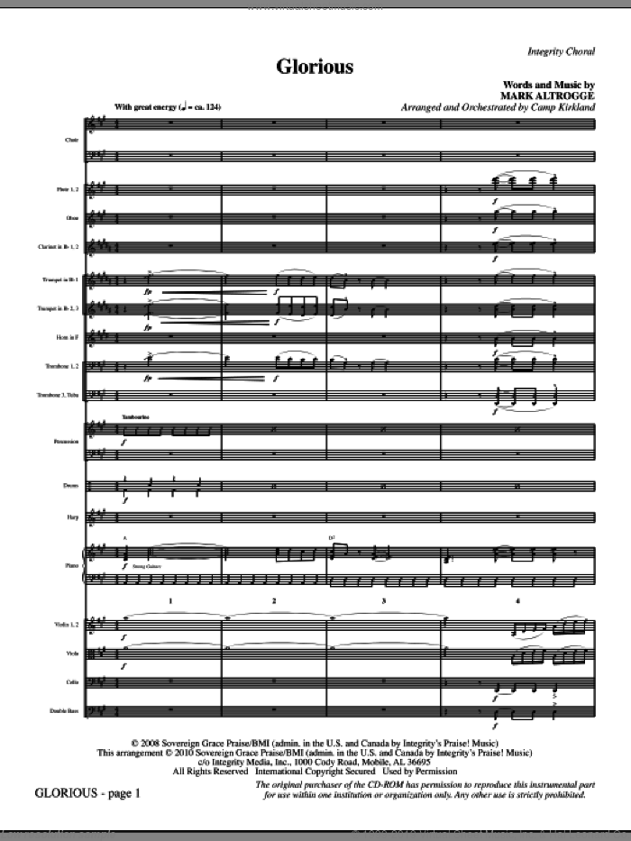 Glorious (complete set of parts) sheet music for orchestra/band (Orchestra) by Mark Altrogge and Camp Kirkland, intermediate skill level