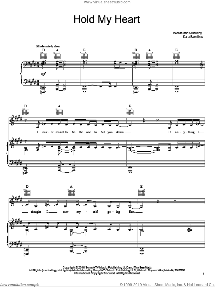 Hold My Heart sheet music for voice, piano or guitar by Sara Bareilles, intermediate skill level