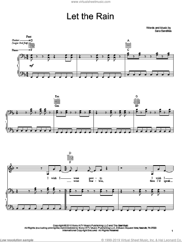 Let The Rain sheet music for voice, piano or guitar by Sara Bareilles, intermediate. Score Image Preview.