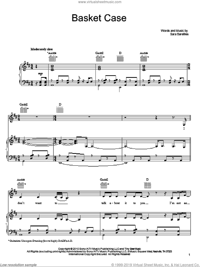 Basket Case sheet music for voice, piano or guitar by Sara Bareilles, intermediate voice, piano or guitar. Score Image Preview.