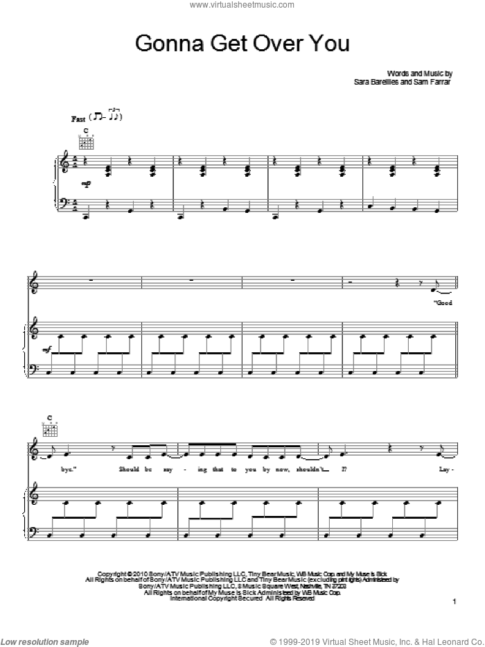 Gonna Get Over You sheet music for voice, piano or guitar by Sara Bareilles and Sam Farrar, intermediate skill level