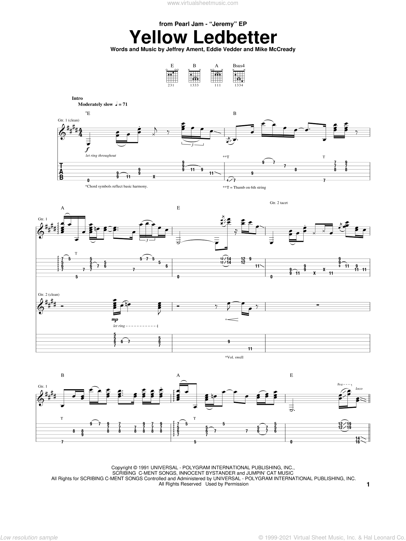 Yellow Ledbetter sheet music for guitar (tablature) by Pearl Jam and Eddie Vedder. Score Image Preview.