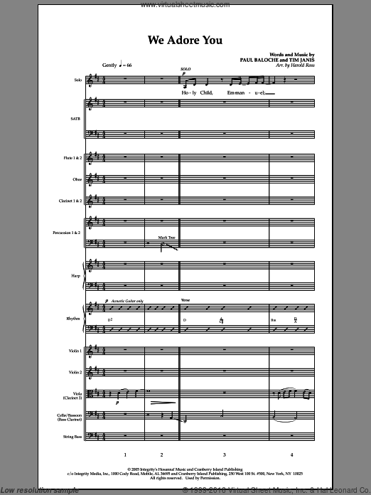 We Adore You (COMPLETE) sheet music for orchestra by Paul Baloche and Harold Ross, intermediate. Score Image Preview.