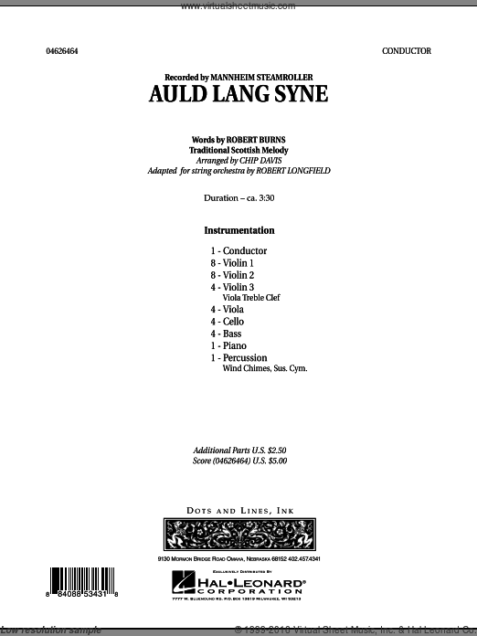 Auld Lang Syne (COMPLETE) sheet music for orchestra by Robert Longfield, Chip Davis and Mannheim Steamroller. Score Image Preview.