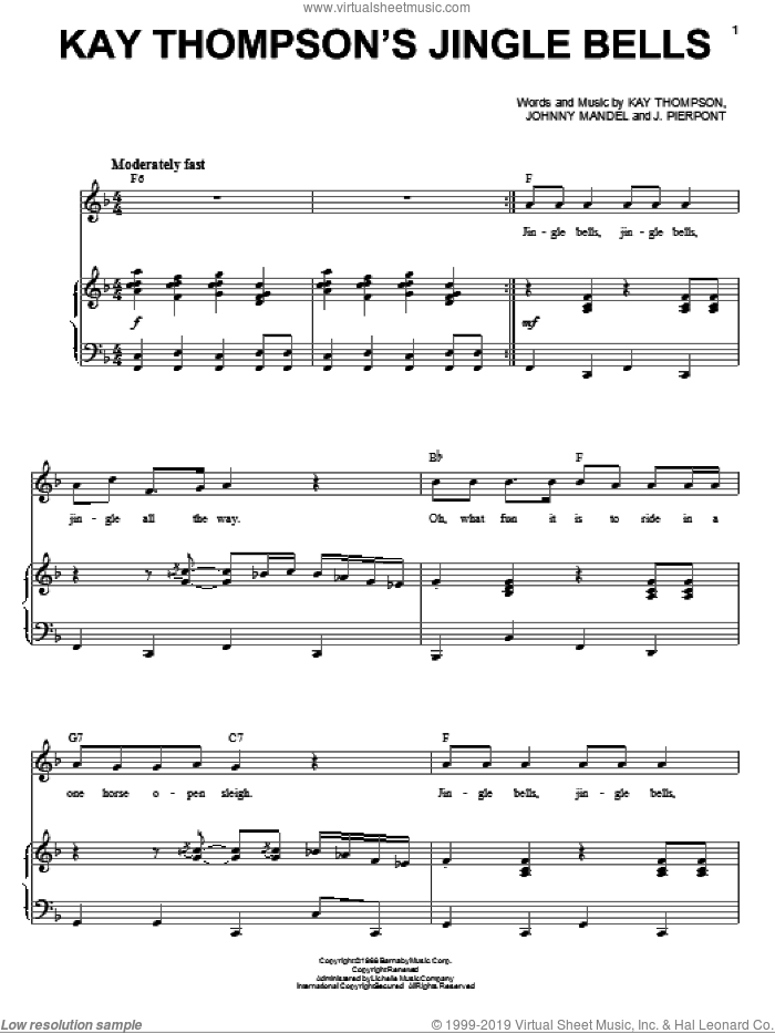 Kay Thompson's Jingle Bells sheet music for voice and piano by Andy Williams, James Pierpont, Johnny Mandel and Kay Thompson, Christmas carol score, intermediate voice. Score Image Preview.