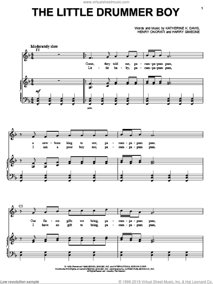 The Little Drummer Boy sheet music for voice and piano by Henry Onorati, Andy Williams and Katherine Davis. Score Image Preview.