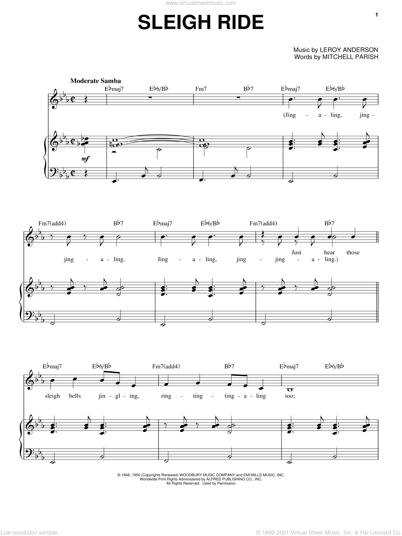 Sleigh Ride sheet music for voice and piano by Leroy Anderson, Andy Williams and Mitchell Parish, Christmas carol score, intermediate voice. Score Image Preview.