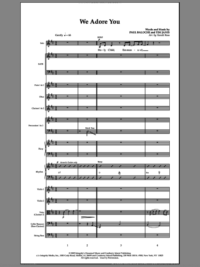 We Adore You (complete set of parts) sheet music for orchestra/band (Orchestra) by Paul Baloche, Tim Janis and Harold Ross, intermediate. Score Image Preview.