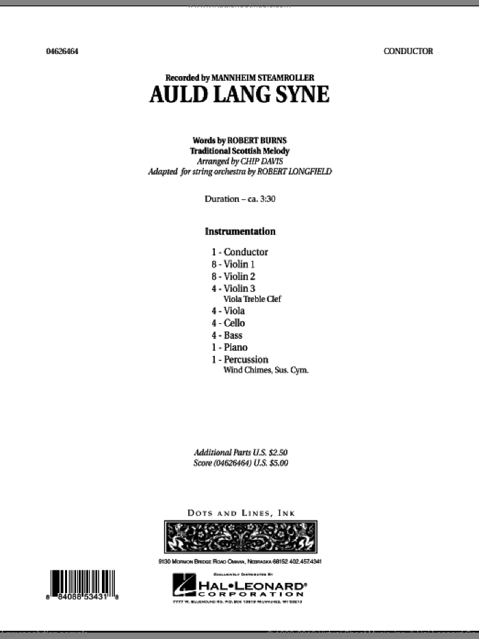 Auld Lang Syne (COMPLETE) sheet music for orchestra by Robert Longfield, Chip Davis and Mannheim Steamroller, intermediate skill level