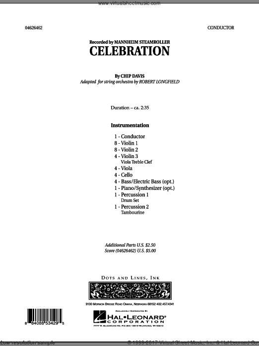 Celebration (Mannheim Steamroller) (COMPLETE) sheet music for orchestra by Chip Davis
