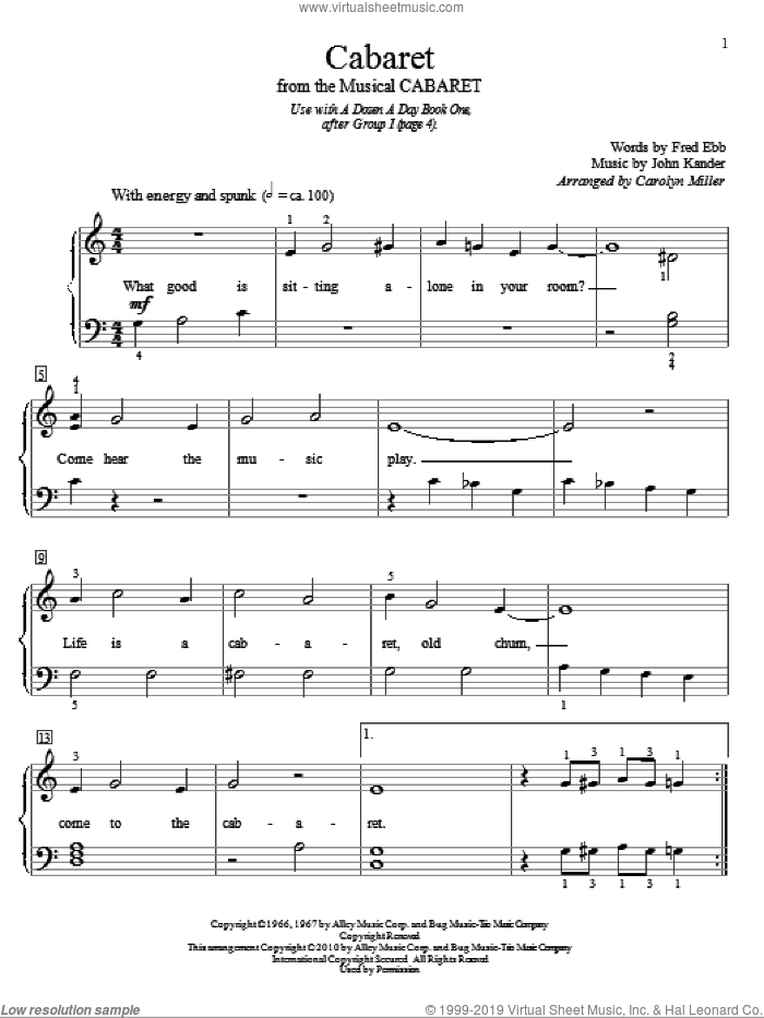 Cabaret sheet music for piano solo (elementary) by Kander & Ebb, Carolyn Miller, Cabaret (Musical), Fred Ebb and John Kander, beginner piano (elementary)