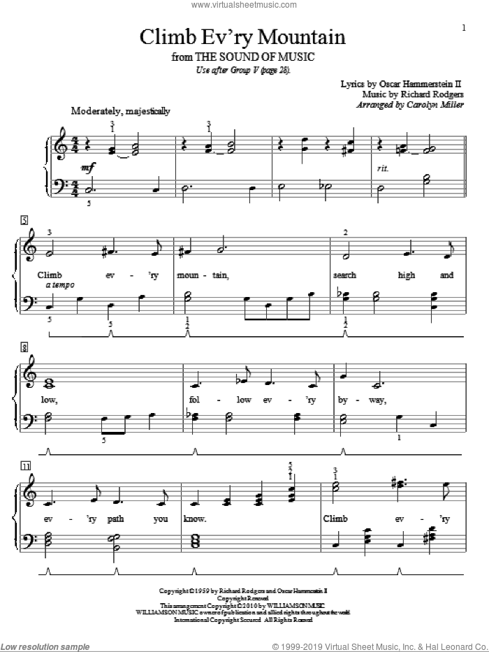Climb Ev'ry Mountain sheet music for piano solo (elementary) by Richard Rodgers, Carolyn Miller, Rodgers & Hammerstein, The Sound Of Music (Musical) and Oscar II Hammerstein. Score Image Preview.