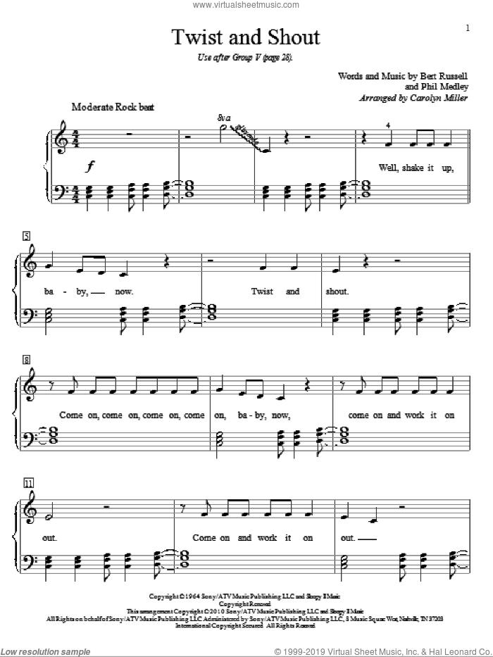 Twist And Shout sheet music for piano solo (elementary) by The Isley Brothers, Carolyn Miller and The Beatles. Score Image Preview.