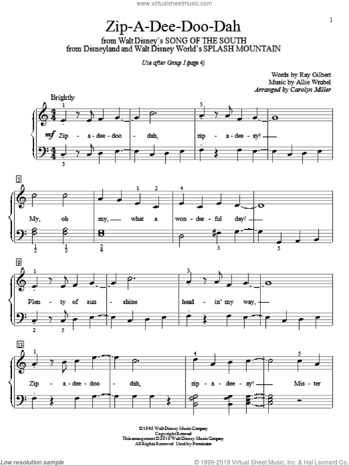 Zip-A-Dee-Doo-Dah sheet music for piano solo (elementary) by Allie Wrubel, Carolyn Miller and Ray Gilbert. Score Image Preview.