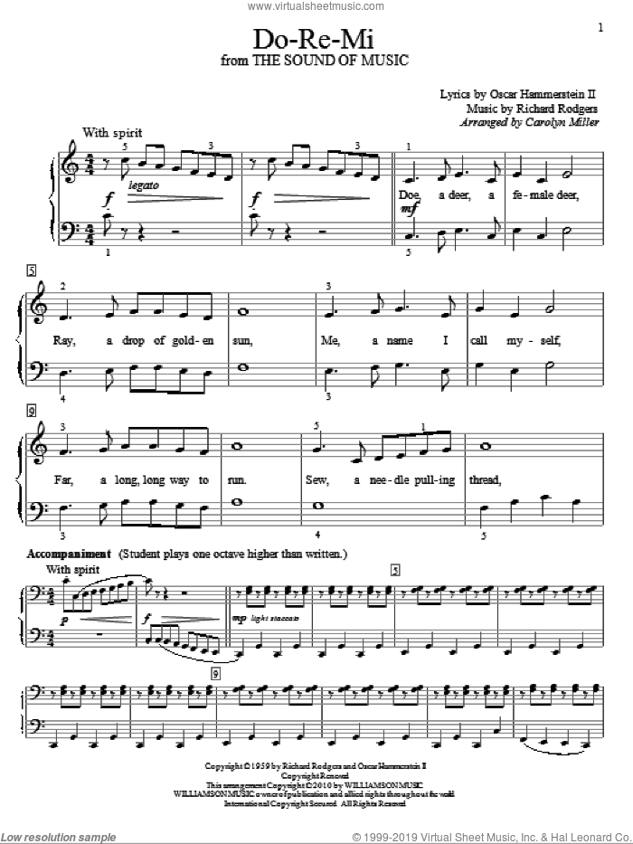 Do-Re-Mi sheet music for piano solo (elementary) by Rodgers & Hammerstein, Carolyn Miller, The Sound Of Music (Musical), Oscar II Hammerstein and Richard Rodgers, beginner piano (elementary)